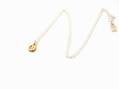 Cute as a Button sterling silver and 9ct yellow gold necklace.