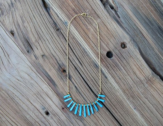 Turquoise howlite fan statement necklace by Rosehip Jewelry