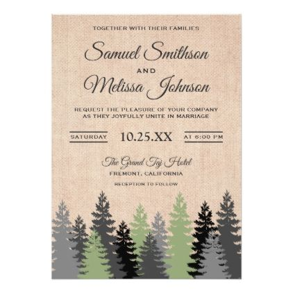 #Pine Trees Rustic Burlap Winter Wedding Invitation - #country gifts style diy gift ideas