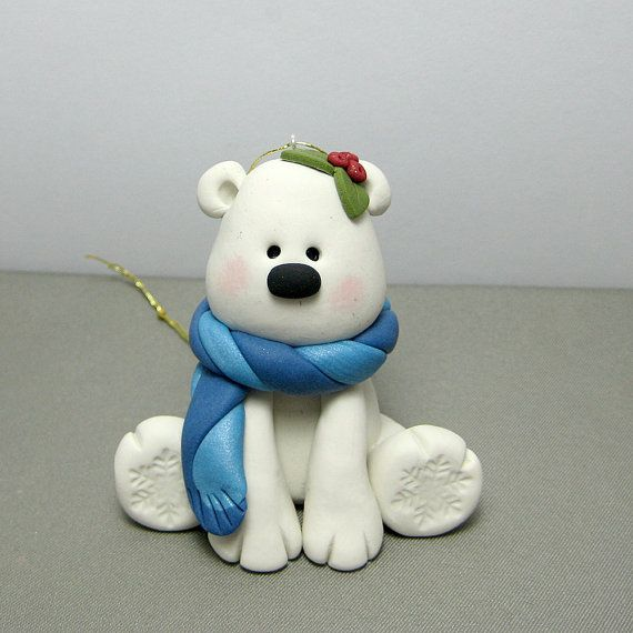Winter Polar Bear polymer clay Ornament by clayinaround on Etsy