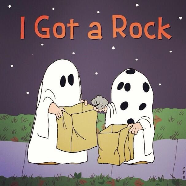 "twitter/ ""Snoopy: The Great Pumpkin is coming. Spread the word. #thegreatpumpkin""  ""I got a ROCK"".  lol"