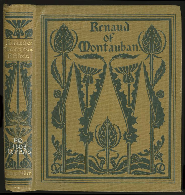 """books0977: """"Renaud of Montauban. Robert Steele, tr. Illustrated and decorated by Fred Mason. London: George Allen, 1898. """"The barons durst not gainsay their lord, but drew their swords and ran..."""