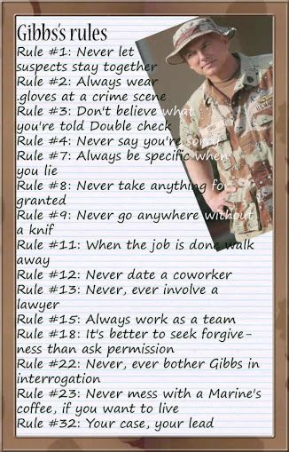 NCIS-- another version of Gibbs Rules                              …