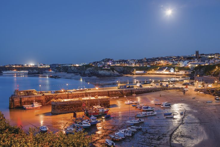 Newquay Harbour by night