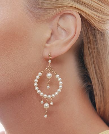 Wire Hoop Earring Designs | Cream Beaded Pearl Hoop Earrings - Beth Devine Designs