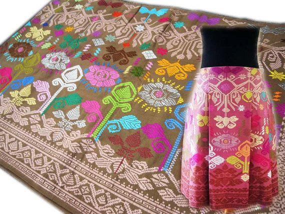 HANDWOVEN IKAT Cotton Tan Bali One of A Kind by ikatbatikhouse, 92.00