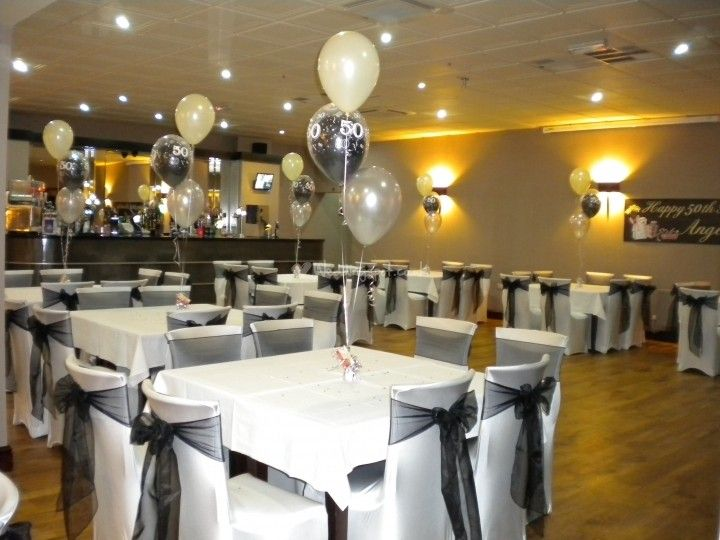 elegant 50th birthday decorations | Black  White 50th Birthday, Chair Covers  Balloons, Riverside Club ...