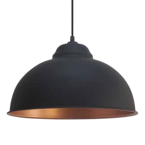 Indendørs VINTAGE PENDEL LAMPE TRURO 2 SORT MED KOBBER Ø 37 cm, EGLO