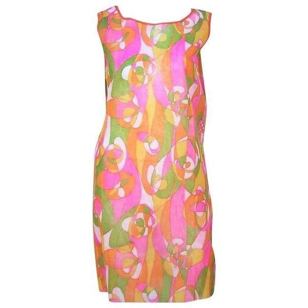 Preowned 1960's Mod Beau Monde Go Go Neon Pink Paper Dress (490 BRL) ❤ liked on Polyvore featuring dresses, pink, shift dresses, holiday shift dresses, pattern dress, cocktail dresses, pink cocktail dress and cocktail shift dress
