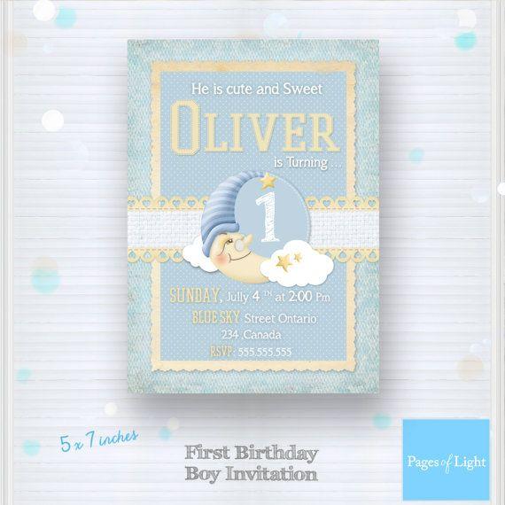 First Birthday Boy  Baby Boy Invitation Card  1st by PagesOfLight