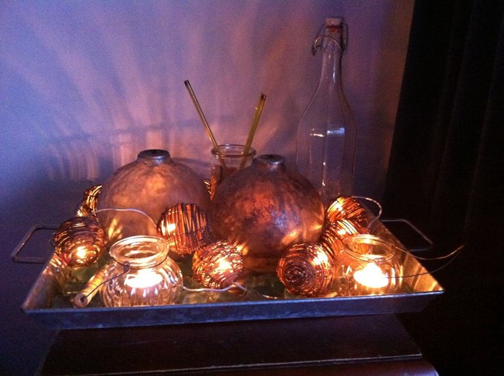 christmas decoration. different candles and candleholders put together on an tray. add some extra light... et voila!