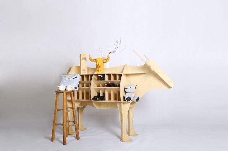 Creative bull wine holder-Piywood art furniture-Rustic Living room decor -By iWood Crafts LLC.
