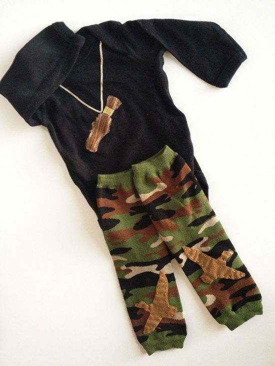Camouflage Duck Call Hunting Long Sleeve Onesie with Camo Baby Leg Warmers. $28.00, via Etsy. My child will have this. For sure.