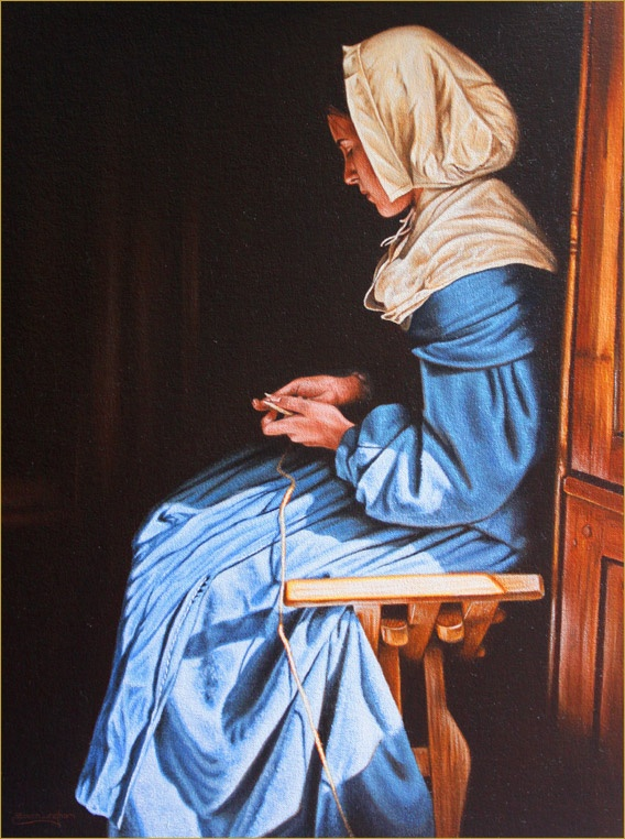 'The Cord Maker'- 17th Century Girl Painting
