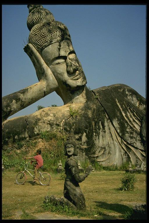 Famous Statues Reclining Buddha, Laos