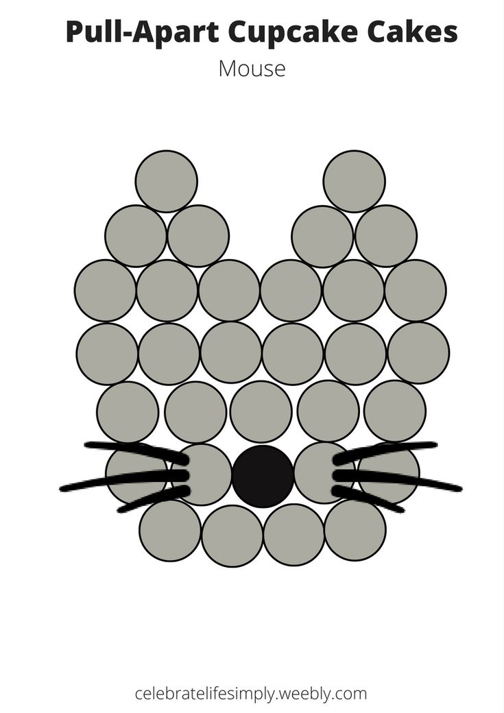 Mouse Pull-Apart Cupcake Cake Template