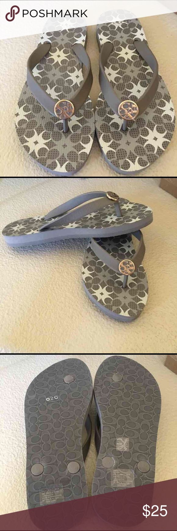 NWOT Coach Sandals Cute Gray/Cream flip flops perfect for summer. Box not included. Coach Shoes Sandals