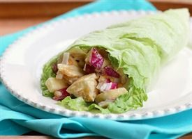 Chicken and Peanut Butter Lettuce Wraps Recipe: Variation:  1/2 cup chopped cooked chicken breast 3 tablespoons chopped Fuji apple 2 tablespoons chopped black or red grapes 2 tablespoons Crunchy Peanut Butter 1 tablespoon lite mayonnaise (or greek yogurt) 2 teaspoons honey Iceberg lettuce
