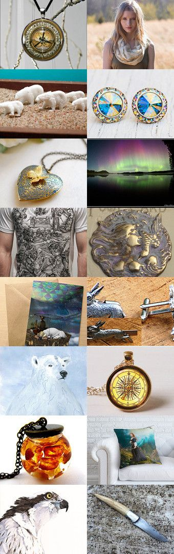 Golden Compass by Viktoria Schuster on Etsy--Pinned with TreasuryPin.com  His Dark Materials  dæmon - polar bear - Lyra - Serafina Pekkala - aurora borealis - amber spyglass -aeronaut  -the subtle knife - Jopari -Pantalaimon - daemon - fantasy literature - lyra belacqua - northern lights - philip pullman - trilogy - will parry - witches
