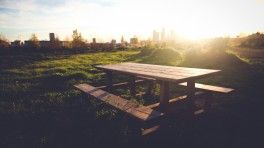 picnic table bench sunset wide hd wallpaper