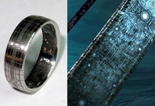 Custom Halo Video Game Themed Wedding Ring. I just think this is cool because Jim taught me how to play first person shooters using Halo.