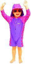 Girls Swimsuit - Long Sleeve: Purple Peacock