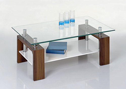 Proline Tische Tommy Couchtisch Nussbaum Klarglas Und Weiss