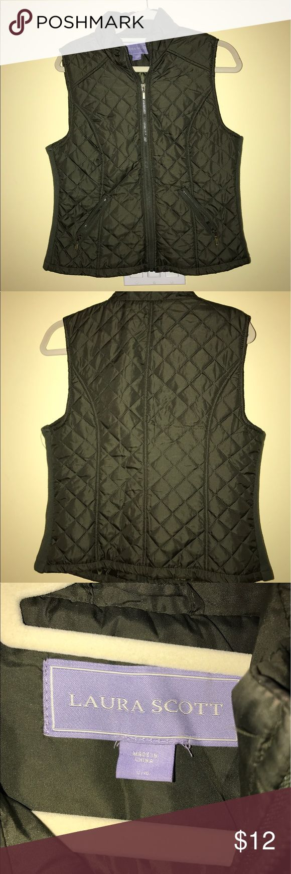 Olive green vest Purchased at sears. size large. Perfect condition. Runs a little smaller. Laura Scott Jackets & Coats Vests