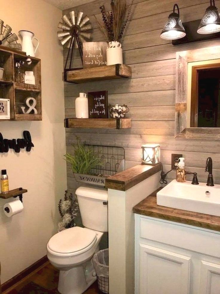 Image Source Pinterest Com For Bathrooms Which Might Be Large In Dimension Use Dar Small Bathroom Remodel Farmhouse Master Bathroom Farmhouse Bathroom Decor