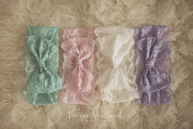 Vintage Lace Bow Headbands. Baby Headband, Newborn Headband, Womens Headband, Girls Headband, Flower Crown, Vintage Headband by Vintage Headband Boutique. www.vintageheadbandboutique.com.au