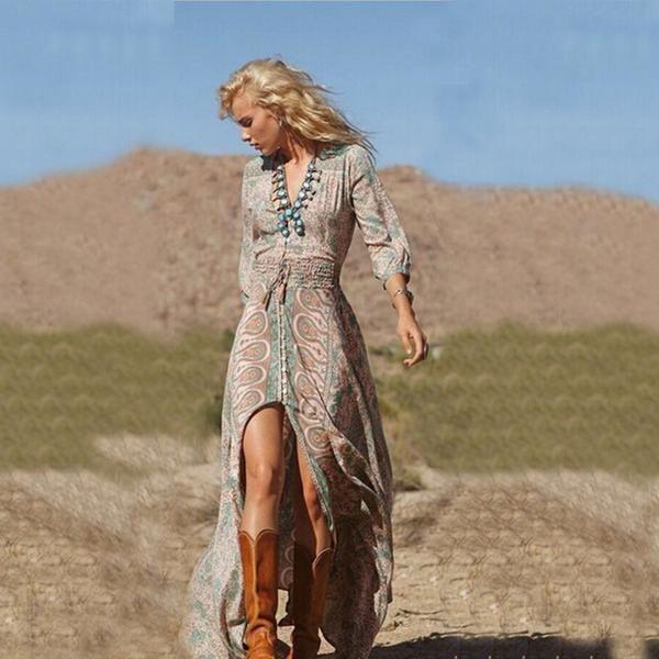 U428 Colorful Pattern Deep V Neck Side Slit Long Sleeve Dress Shrink Waist Dress