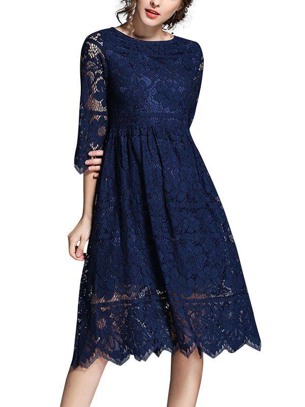 2e6facadd2a6b Shop - Navy Blue Hollow Out Lace Swing Midi Dress on Metisu.com. Discover  stylish and vogue women's dresses for the season. Regular discounts up to  60% off.