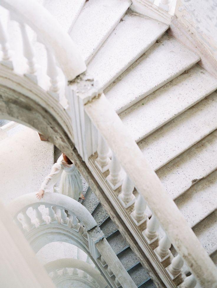Abkhazia Palace Wedding | stairs, beautiful, attire, bride, groom, red, pink flo…