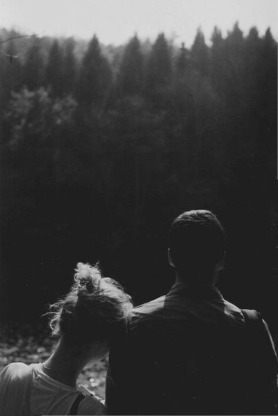 Black and white photography sincere couple
