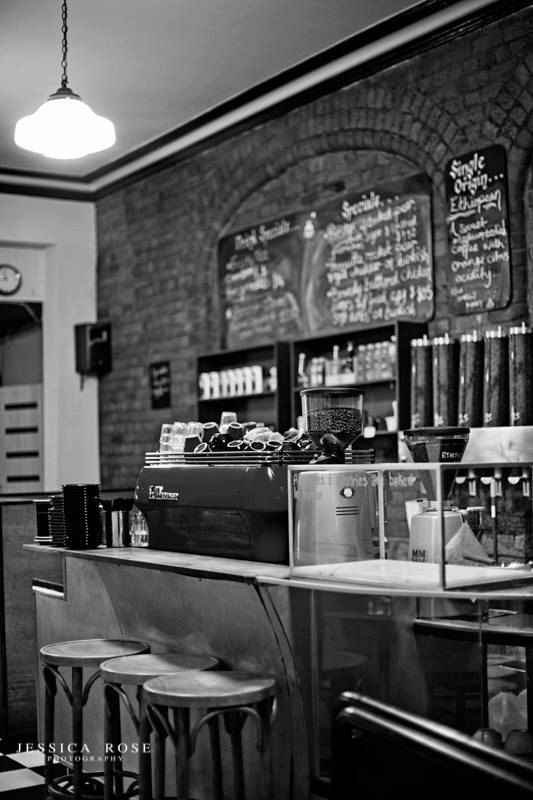 BW Photography Print, Photograph, Melbourne Fitzroy Cafe, 8x12
