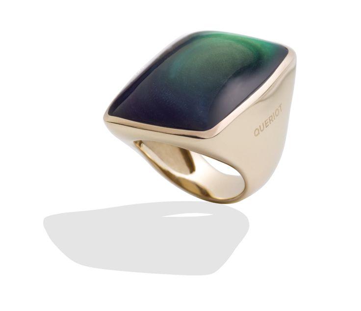 Anello in oro giallo e ossidiana rainbow queriot ring green yellow gold jewellery gioiello fashion luxury