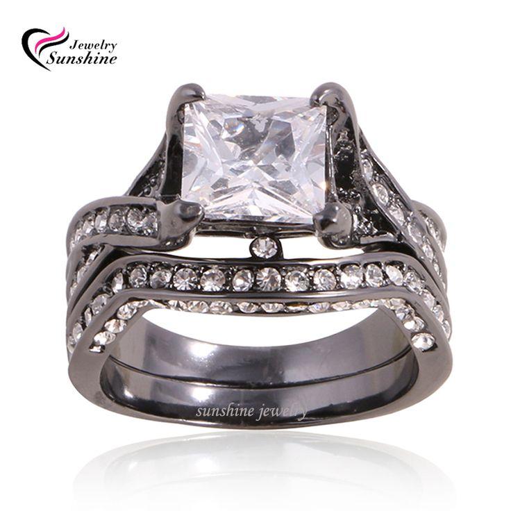 Женское обручальное кольцо, белый сапфир, черный родий