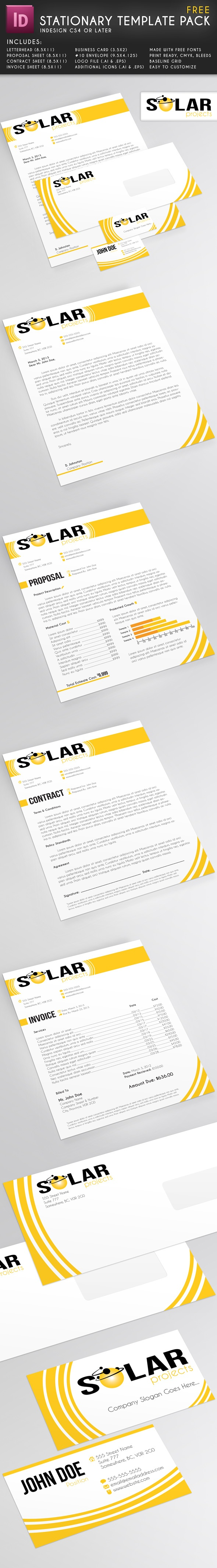 Stationary Template Pack, InDesign CS4/CS5, Free Download, edit freely.