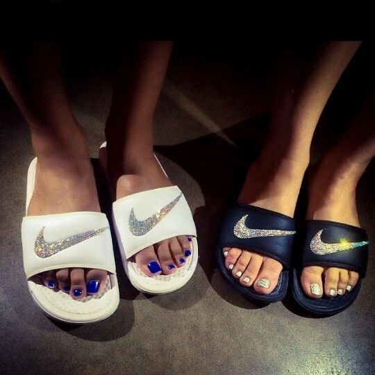 Nike bedazzled slides