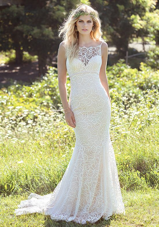Allover lace fit and flare wedding dress | Lillian West 6480 | http://trib.al/1bsypHt
