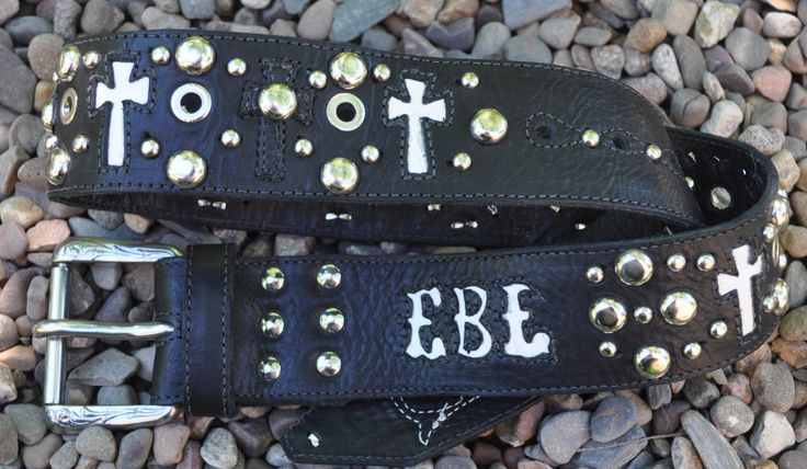 Eddie Brat Strap, Spirit of the 11 angels, 11 crosses in goat leather run along the belt, belt is hand cut and designed by www.eddiebratleather.com unique pieces made one at a time for the individual, not mass produced.  High end leather, high end workmanship.