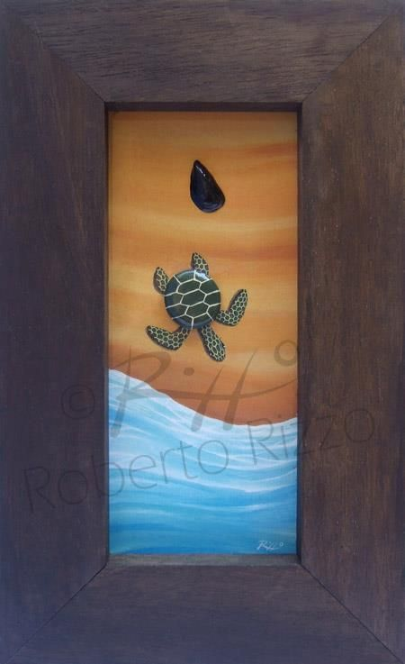 A 3-D little painting completely handmade: the turtle's shell is a small painted rock and the mussel is real.  Cm 15x25.  $40,00