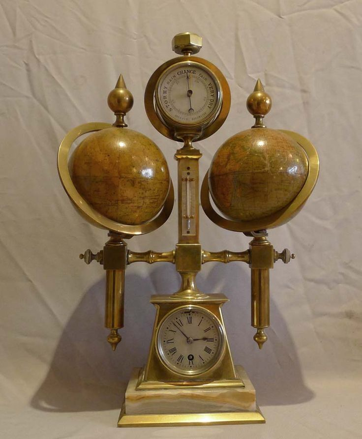 Desk compendium with two rotating terrestrial & celestial globes, thermometer, barometer & compass  - French  c.1895-1900