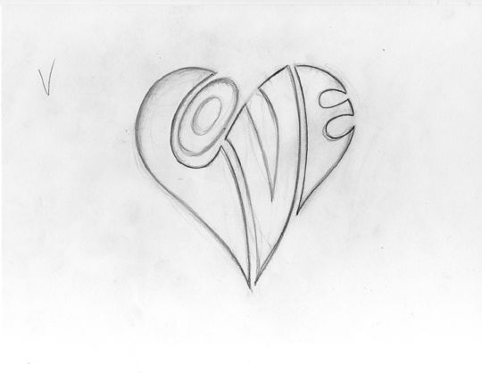 heart drawings with wings in pencil