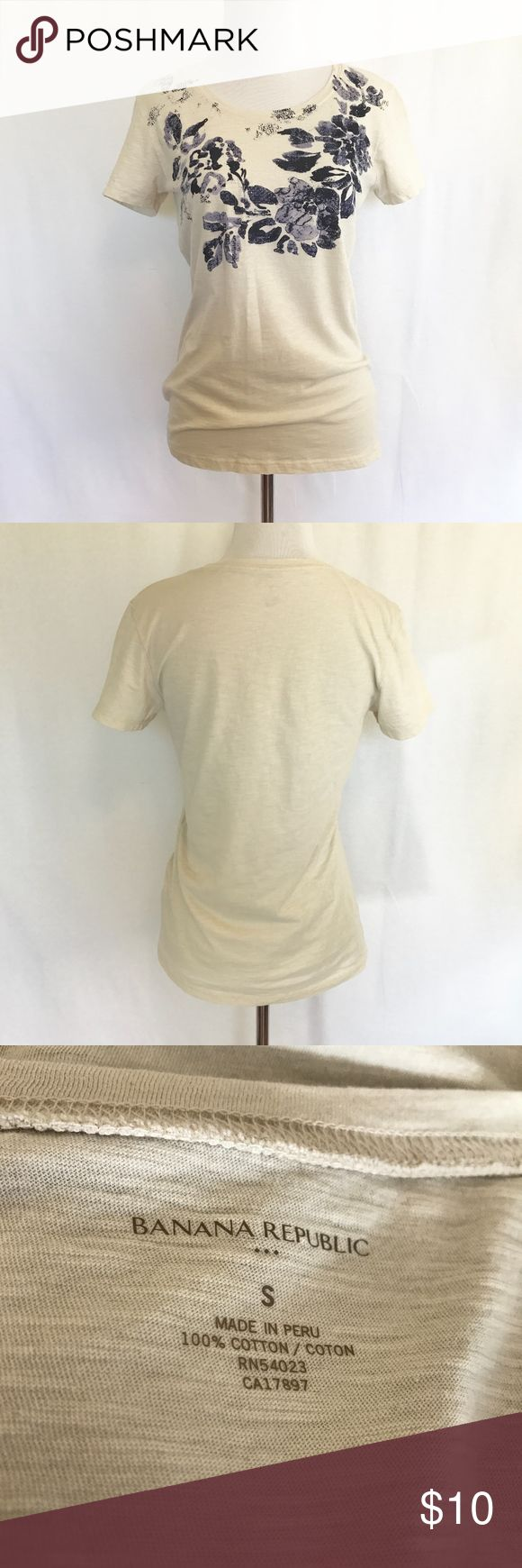 Banana Republic - Floral T-Shirt - Sz. S Casual t-shirt by Banana Republic in size small.   Features a blue floral motif along the neckline and bust.   True to size. Very good condition. Banana Republic Tops Tees - Short Sleeve