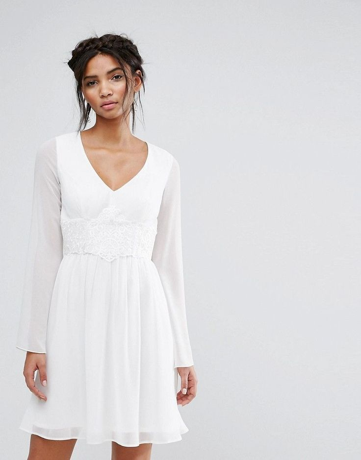 Elise Ryan Skater Dress With Lace Waist