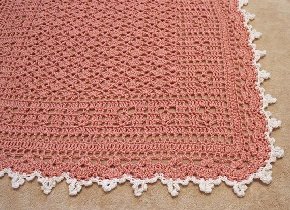 Coral and white baby blanket handmade crocheted baby