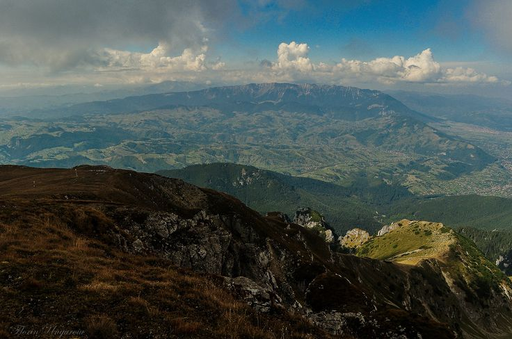 Autumn view of the Rucar - Bran Corridor and Piatra Craiului Mountains.  Photo taken near Scara Peak (elev. 2422m), located in the Bucegi Massif, Romania.