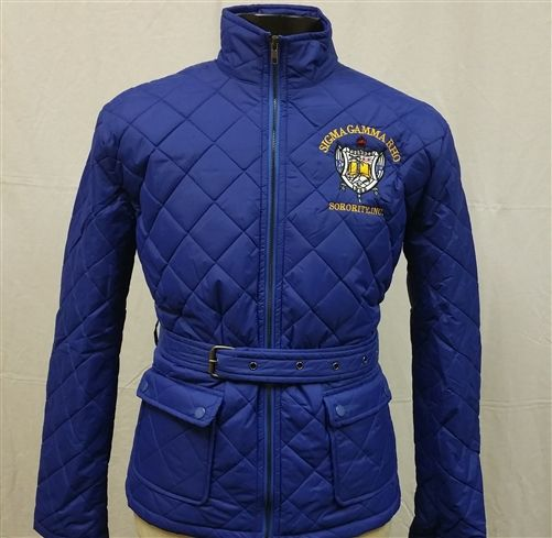 Sigma Gamma Rho Sorority Quilted Riding Jacket with Belt - Brothers and Sisters'…