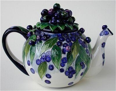 blueberry embellished teapot